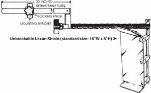 FLEXBAR Safety Shield Long Reach Visorguard™: Complete with hardware, tube and mounting bracket - Model #: 13050 Size: 16'' wide x 8'' high