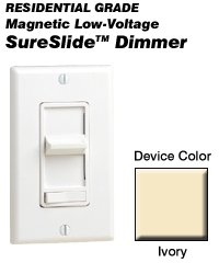 Leviton 6611-PI Dimmer Switch, 450W Magnetic Low Voltage Decora Sureslide - Ivory