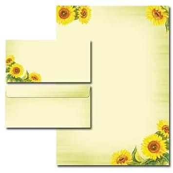 Motiv-Briefpapier-Set SUNFLOWERS 20-tlg Set DL ohne Fenster