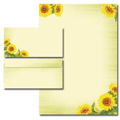 40 Pièces sUNFLOWERS paper-media lot de 20 feuilles de papier à lettre et 20 enveloppes longues et sans fenêtre assorties