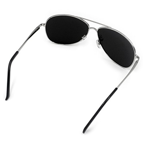 Lunettes de extérieur Lunettes Sports homme aviateur de métal Mode polarisées UV400 Eyewear pêche soleil femme Noir Argent pilote qzSHwn57