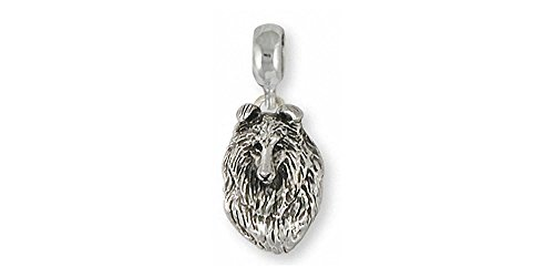 Collie Jewelry Sterling Silver Collie Charm Slide Handmade Dog Jewelry COL6-PNS
