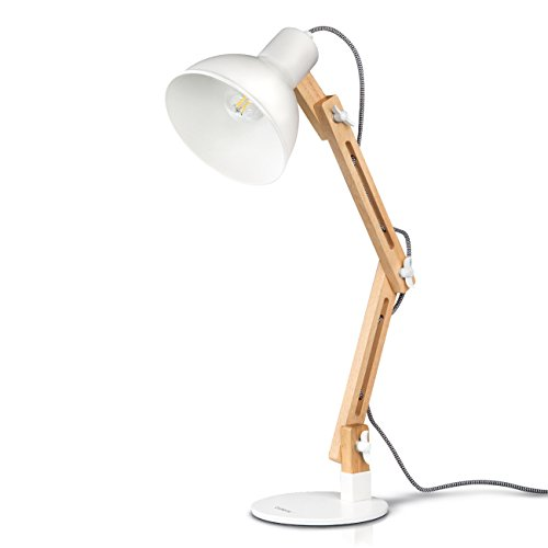 Tomons Swing Arm LED Desk Lamp, Wood Designer Table Lamp, Reading...