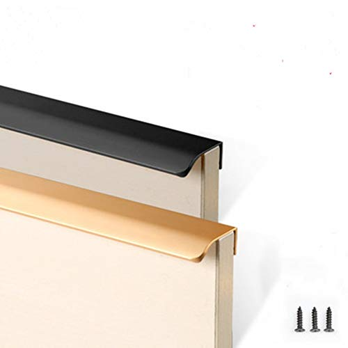 (Kasuki Black cabinet handle modern simple edge banding wardrobe handle shoe cabinet matte gold wine cabinet invisible drawer handle - (Color: 320mm matte gold))