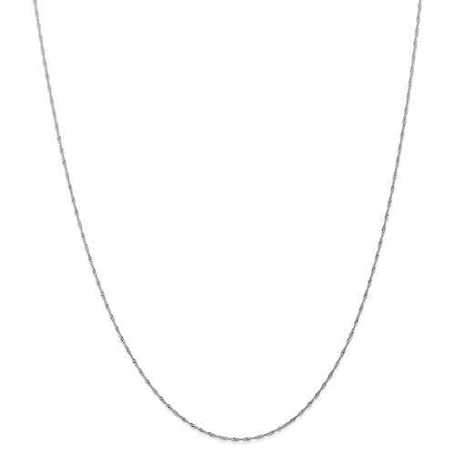 (Solid 14k White Gold 1mm Singapore Twist Thin Light Weight Ladies Womens Gift Pendant Dainty Chain Necklace (CARDED) 18