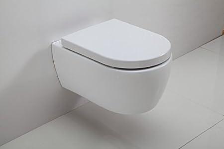 Bernstein Badshop WC Suspendu /à Fond Creux sans Bride Nano NT2039 Abattant Si/ège WC:Extra Plat abattant Softclose Inclus