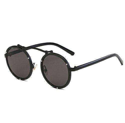 Metal Sol Y Pink Black Visible UV400 Gafas Pc Marco Perspectiva De Pareja Hembra Personalidad Luz Circular QQBL Varón 99 CwHSq8F