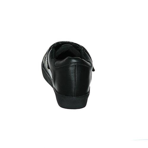 Shoewhatever Ny Ankomst !! Kvinna Grafisk Formgivare Spets-up / Slip-on Mode Sneaker Blackt8