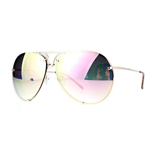 Oversized Round Aviator Sunglasses Metal Rims Gold, Pink Mirror - Aviator Juicy Sunglasses