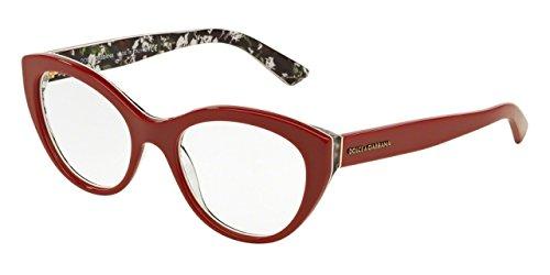 Dolce&Gabbana DG3246 Eyeglass Frames 3020-53 - Top Red/rose - Dolce Gabbana Frames Optical And