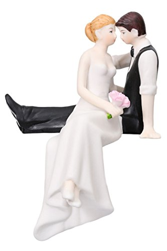 Couple Sitting on Edge Hand Painted Porcelain Bride Groom Cake Topper - Edge Porcelain