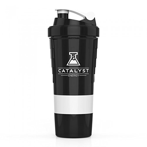Catalyst Caffeinated Gaming Fuel Energy Powder Drink Mix Shaker Bottle| Built In Metal Mixer | 3 Supplement Compartments | Cup | BPA Free | 18 Ounce, White by Catalyst (Image #1)