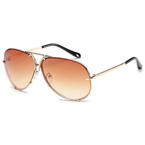 de moda los las el hombres la Marrón metálico de clásicas y Dorado Huicai mujeres sol marco de Gafas para wxq8I