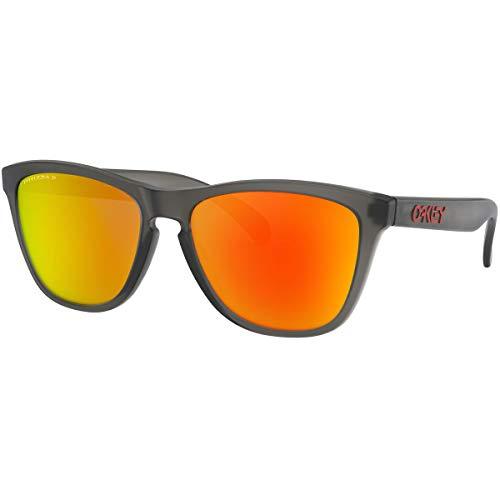 Oakley Men's OO9013 Frogskins Square Sunglasses, Matte Grey Smoke/Prizm Ruby Polarized, 55 mm (Oakley Prizm Sonnenbrille)