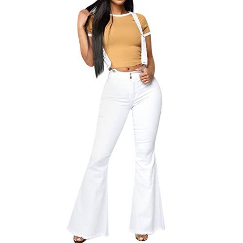 - UOFOCO High Waist Zipper Jeans Women Button Strap Pants Trousers Bell-Bottom Pants White
