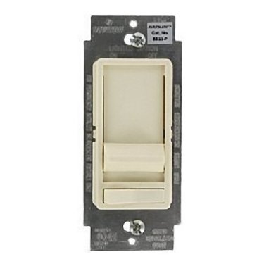 Leviton SureSlide Decora Full Range Slide Dimmer 3-way illuminated, with preset on/off switch. 600WIncandescent Dimmer, Single Pole or 3-Way, Almond