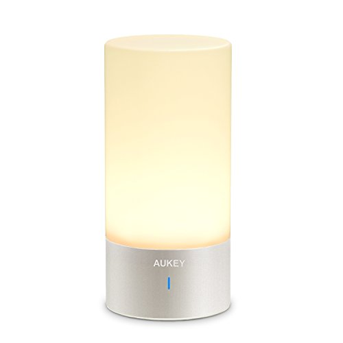 AUKEY Table Lamp, Touch Sensor Bedside Lamps + Dimmable Warm White Light & Color Changing RGB for Bedrooms (White Bedside Lamp)