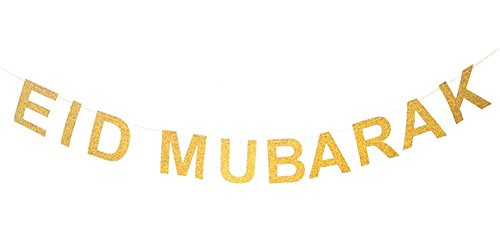 SWEETTALA Ramadan Eid Mubarak Gold Banner,Islamic Muslim Party Decoration Supplies