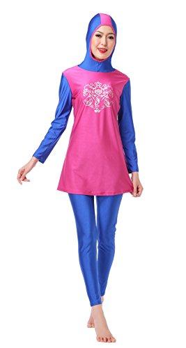 CaptainSwim Women's Full Length Long Muslim Islamic Burkini Modest Swimwear (Rose Red, Int'l-S Height(150-155cm))
