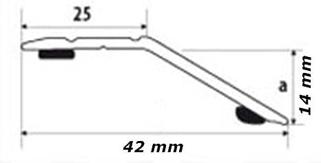 42 mm alu appoint /à 14 m GAH alberts profil/é de jonction-dehnungsprofil teppichschiene-profil/é de finition-alberts 491246 profil/é anpassungsprofil-de compensation selbstklebend argent anodis/é naturel largeur