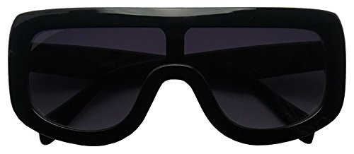 Large Oversized Full Shield Squared Bold Flat Top Sunglasses Retro goggle Shades (Black, 75) by SunglassUP