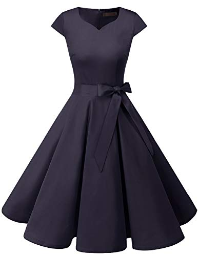 Maggie Sottero Prom - DRESSTELLS Retro 1950s Solid Color Cocktail Dresses Vintage Swing Dress with Cap-Sleeves Navy S