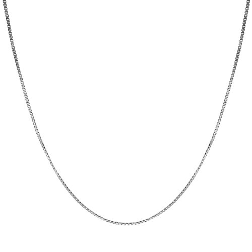 Honolulu Jewelry Company 14K Solid White Gold 0.7mm Box Chain Necklace (30 Inches)