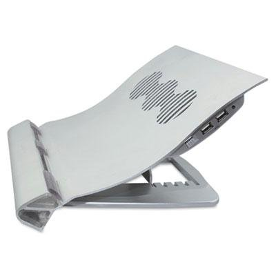 Kelly Computer Supply - Deluxe Aluminum Notebook Riser With Cooling Fan Silver 12 1/4 X 11 1/2 X 2 3/4