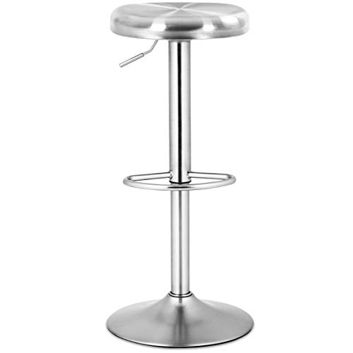 COSTWAY Bar Stool, Modern Swivel Adjustable Height Barstool, Stainless Steel Round Top Barstools with Footrest, for Pub Bistro Kitchen Dining