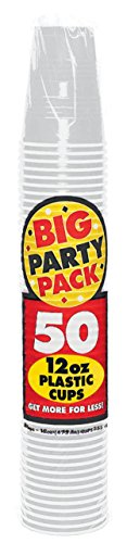 Amscan Reusable Silver Plastic Cups Big Party Pack, 12 Oz., 50 Ct. ()