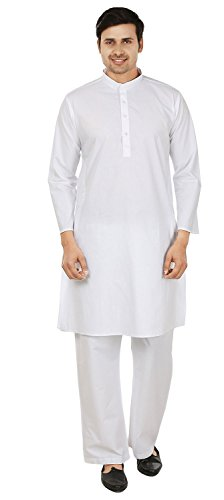 Mens Cotton Kurta Pajama White Traditional India Clothing (M) ()