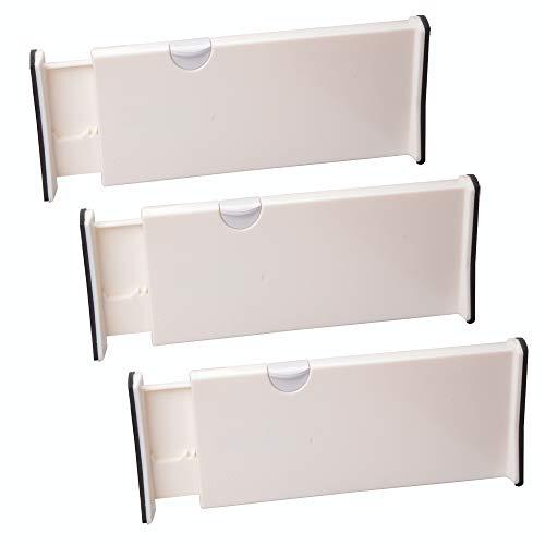 Drawer Partition - MUZOCT 3 Pcs Adjustable Expandable Drawer Dividers, Produce Organization Separators, Drawer Partitions for Dresser, Bedroom, Bathroom, Closet, Office, Kitchen Drawer Storage