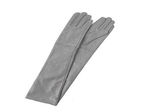 スロベニア幽霊撤回するBoca Raton レディスレザー 本革手袋  ロンググローブ 52cm  グレー