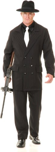 [Gangster - 6 Button Double Breasted Suit (Black/Red) - Adult] (20s Mafia Costume)