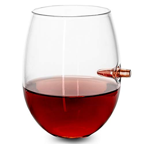 Lucky Shot .308 Cal Real Bullet Handmade Stemless Wine Glass