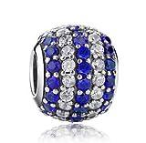 1pcs Silver European Charm Blue Crystal Spacer Beads Fit Necklace Bracelet DIY ~
