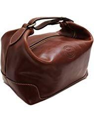 Cenzo Leather Travel Kit Toiletry Dopp Bag in Brown