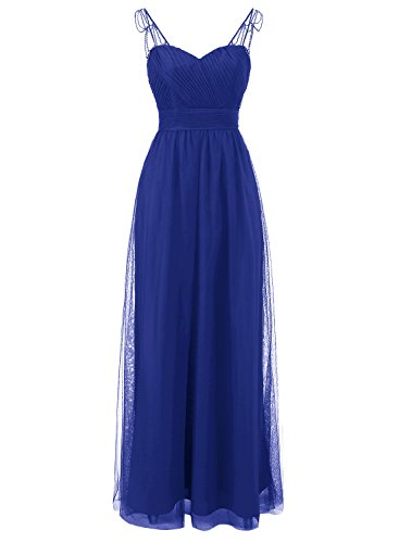 Party Sweetheart Dresses Beading Womens ALAGIRLS Long with Ribbon Royalblue Tulle Gowns Bridesmaid 1pnqB