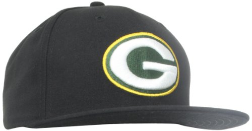 NFL Green Bay Packers Black and Team Color 59Fifty Fitted Cap, Black/Black, 7 (Green 59fifty Fitted Cap)