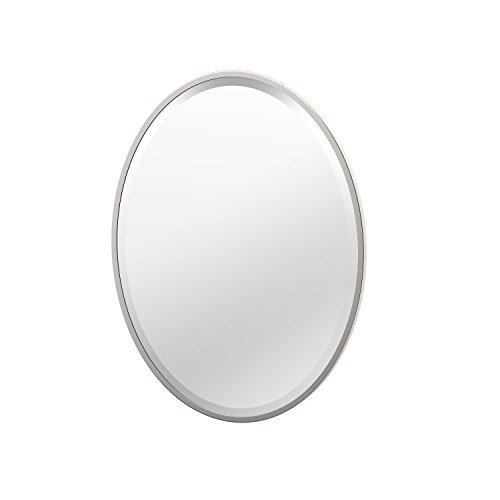(Gatco 1830 Flush Mount Framed Oval Mirror, 27.5-inch, Satin Nickel)