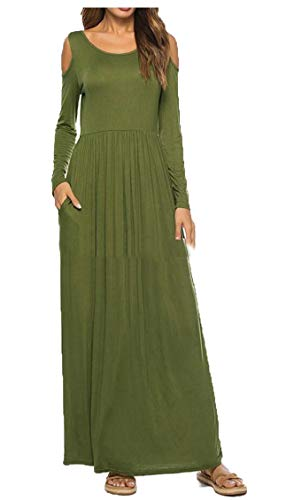 Army Color Dress Pockets Length Green Long Women Party Jaycargogo Solid Floor Dress Casual wqZnxP