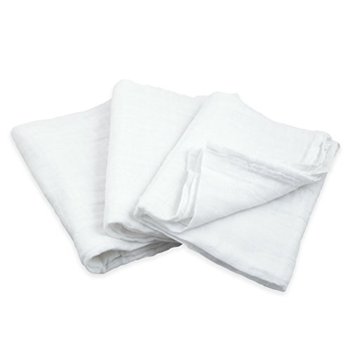 Green Sprouts 3 Piece Muslin Multi-Purpose Cloths Made from Organic Cotton, White ()