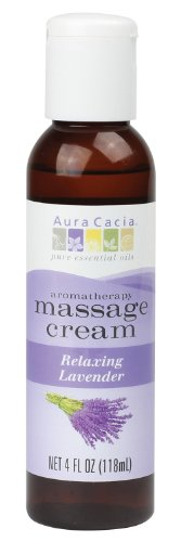 Aura Cacia Massage Cream, Relaxing Lavender, 4 Fluid Ounce (Body Herbal Thickener)