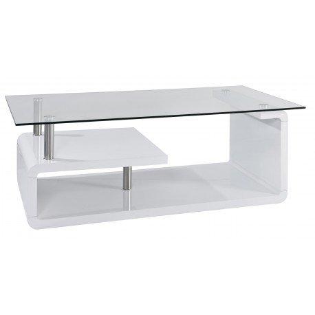 Mesa centro de diseño blanca lacada Corinna con bandeja de cristal ...