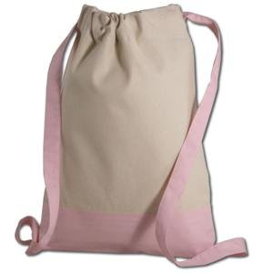 Canvas Two-tone Drawstring Sport Bag/backpack (Light Pink)
