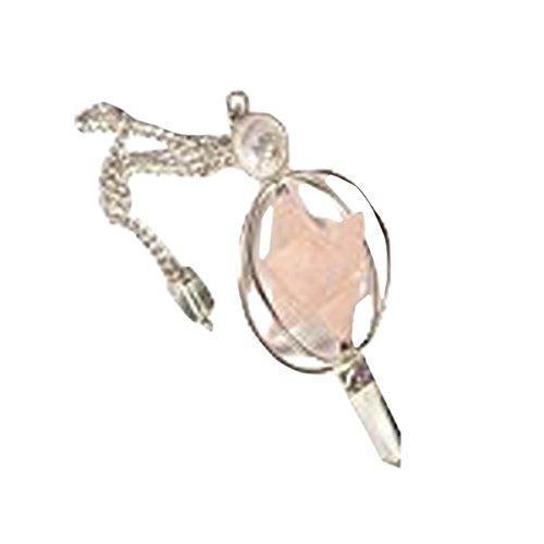 - WholesaleGemShop Rose Quartz Spinning Merkaba Pendulum Dowsing Healing Chakra Balancing Reiki AA+