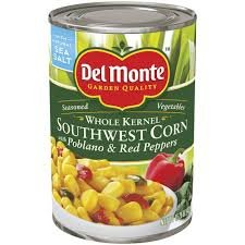 Del Monte, Whole Kernel, Southwest Corn with Poblano & Red Peppers, 15.25oz Can (Pack of 6)