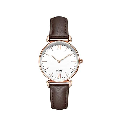 Shining Round Dial (Quartz Wrist Watch, Couple Simple Watch, Waterproof Round Dial Quartz Watch, Suitable for Couples, Birthday Gifts, Mother's Day Gifts,BrownFemale)