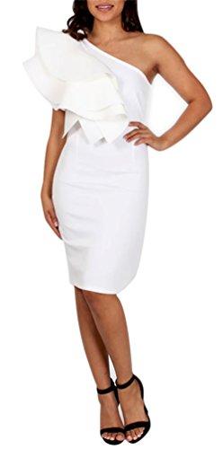 WorkTd Womens Sexy One Shoulder Flower Ruffle Bodycon Midi Pencil Dress White 2XL