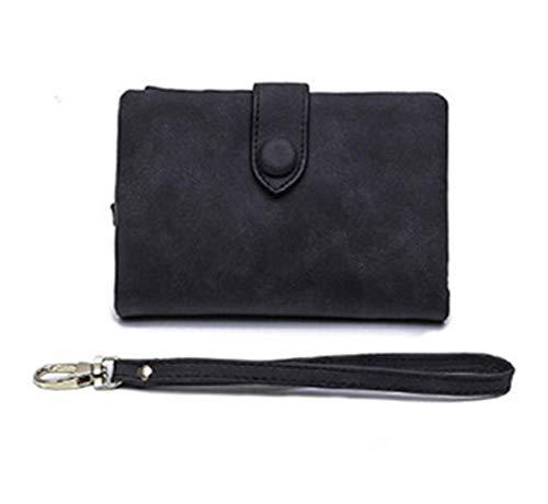 Women Wristlet Wallet with Strap Coin Pocket Vintage Soft Suede Purse Ladies Folder Money Clips (Black)